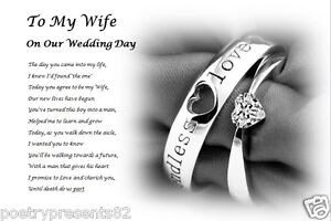 TO MY BRIDE on our wedding day (personalised gift) - From Groom