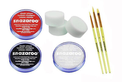 Snazaroo Halloween 3 face paint set Assorted White Black Red Brushes and - Halloween White Painted Face