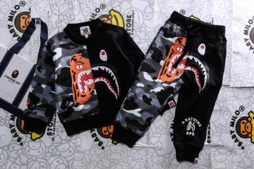A Bathing Ape Bape Baby Milo Kids Shark Long Sleeve Sweatshirts Hoodies + Pants