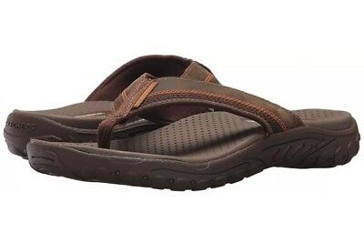 43ed458640b Skechers Mens 65460/BRN Relaxed Fit-Reggae-Cobano Flip Flop Brown Size 11