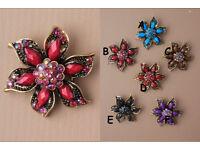 Vintage Gilt coloured crystal flower brooch. - JTY237