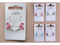 Pair of Coloured Crystal Wing Fairy Earrings. Available in Pink Lilac Blue and Green. - JTY292