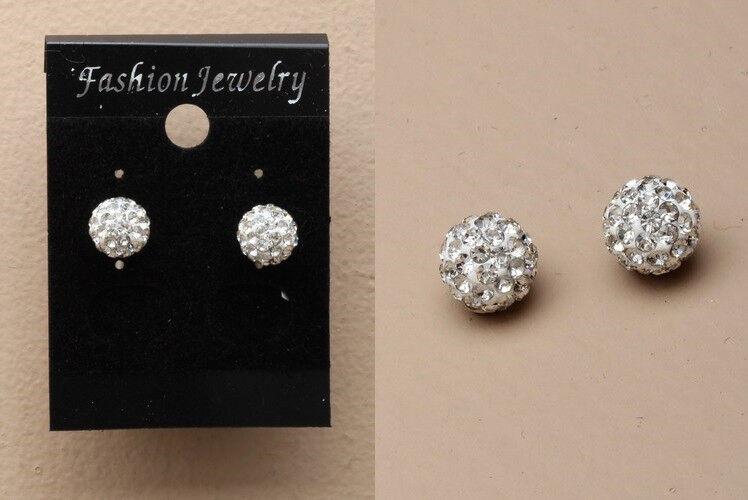 Pair of 8mm Crystal fimo ball stud earrings. - JTY274