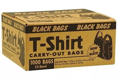 New Black T Shirt Grocery Store Carry Out Plastic Shopping Bags 1000