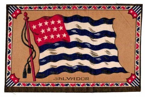 1910-1915 Cigar Box Cigarette Felt Silk Flag-SALVADOR-8 x 6 in-EXCELLENT COND.