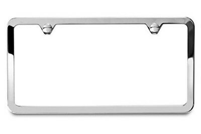 1PC SLIM CHROME STAINLESS STEEL LICENSE PLATE FRAME + SCREW CAPS /SLIM 2 HOLE CF