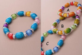 Crackle and assorted coloured bead bracelet. In Green/orange and blue. - JTY015