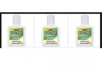 Bic Witeout Ecolutions Water Base Correction Fluid .7oz - Package Of 3 Bottles