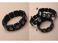 Black wooden tablet bead stretch bracelet. - JTY136