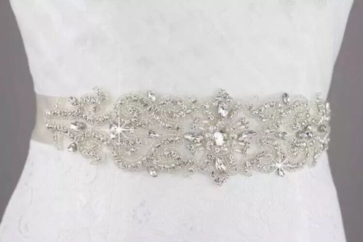 Bridal Wedding Rhinestone Crystal Pearl Encrusted Diamante Sash Dress Ivory Belt