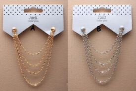 Spike collar pins with cascaiding chains. - JTY231