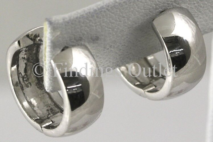 Womens Sterling Silver 925 Italy Ladys Hoop Huggie Earrings Hinged Style Quality