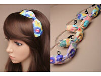 6mm wide covered metal aliceband with floral printed fabric bow. In 4 colours. - JTY407