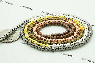 3mm Round Seamless 8/0 Metal Seed Beads Brass Spacer - Silver Gold Copper Bronze