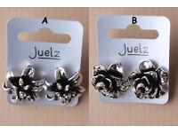 Pair of silver coloured cast flower stud earrings. In 2 styles. - JTY291