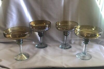 4 Mouth Blown Margarita Cocktail Glasses (Mexico)