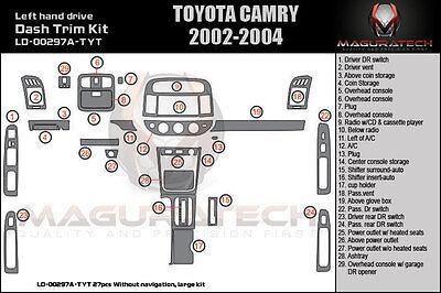Fits Toyota Camry 2002-2004 W/o Navigation Large Wood Dash Kit (a) 27pcs