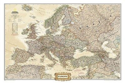 National Geographic Map Europe Wall Map Accurate Details 24 75 X 30 50
