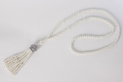 1920s Flapper Necklace Jewelry Long Pearl Chain For Vintage Great Gatsby Dress