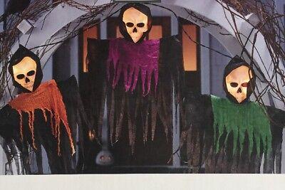 Halloween Lighted Plastic Ghouls Black Wire Indoor Outdoor Scary Hanging - Halloween Hanging Ghouls