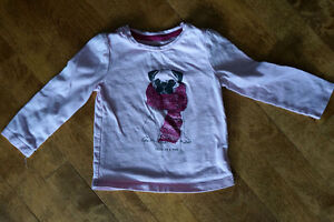 EUC 18-24M GAP L/S TSHIRT PINK WITH PUG-FOR THE DOG PUPPY LOVER