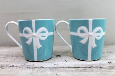 Japan 5024 TIFFANY & Co Mug Cup Blue Ribbon Box Mug Cup 2pcs Bone China 225 ml