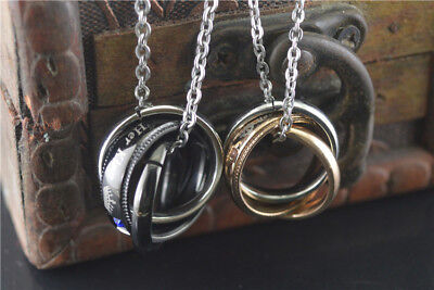 - Interlocking Ring His and Hers Lover Matching His Queen Her King Couple Necklace