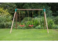 Little Tikes Oslo Wooden Swing Set Twin Swing and Disc Swing