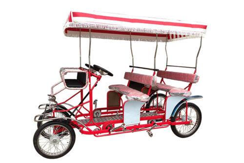 Surrey Bike Double Bench, RED, Beach Surrey Bikes, 4 wheel bicycle