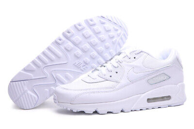 NIKE AIR MAX 90 ALL WHITE WOMEN'S TRAINER UK SIZES 3-7. FREE SHIPPING