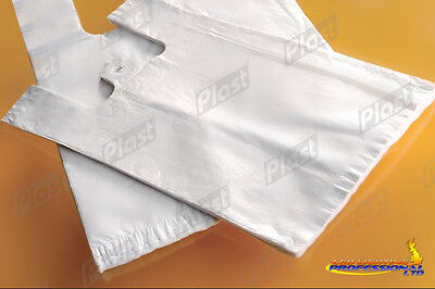100 PLASTIC VEST CARRIER BAGS WHITE - 23