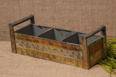 New Primitive Rustic Green WOOD RULER TOOL BOX Basket Caddy Divided