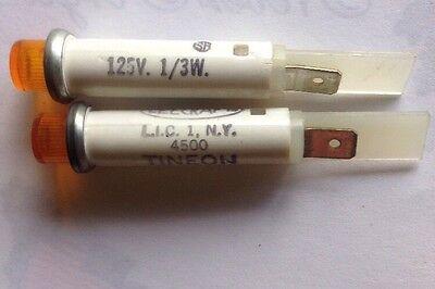 Pkg of 2 ..Leecraft Yellow 4500 Tineon Indicator Panel Mount, Neon 125V  1/3W