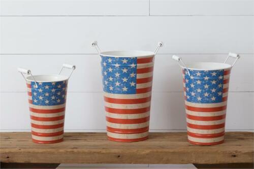 4th of July Americana Buckets w/Handles Set of 3!