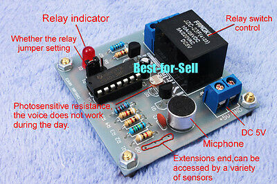 Voice Sound Light-operated Switch Control Delay Relay Project Electronic Diy Kit