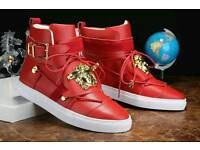 Versace Red Leather Medusa High Top Sneakers