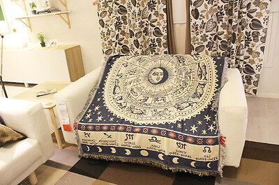 Sofa Rug Throw Blanket Celestial Mediterranean White Constellation Zodiac Print ()