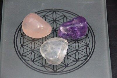 Goldenes Dreieck Amethyst, Bergkristall, Rosenquarz Wassersteine Edelsteine