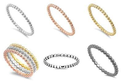 Bead Band Ring New .925 Sterling Silver Stackable Eternity Band