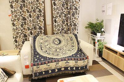 Rug Sofa Blanket Throw Celestial Mediterranean White Constellation Zodiac Print  ()