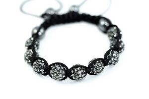 9pcs 10mm Shamballa Disco Ball Bracelet Jewelry Crystal Beads Micro Pave Macrame