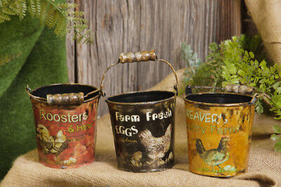 New Primitive Farmhouse Chicken Rooster 3 FRESH EGGS BUCKETS Basket Pail Bucket