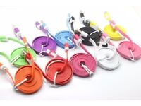 Wholesale Joblot Bulk x100 Colour Flat Micro USB Data Sync Cable Charger Phone GREAT FOR RESALE