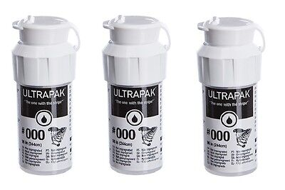 3x Ultrapak Dental Retraction Knitted Cord 244cm 99in Bottle Size 000 Ultradent