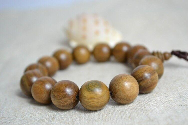 Green Sandalwood Wrist Mala 12MM Prayer Bead Bracelet Stretch