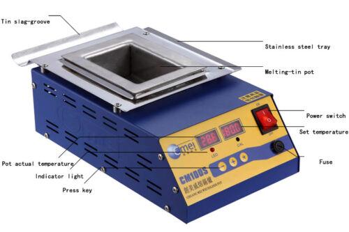 110V 1200W Preheat Tin Soldering Furnace 304 Stainless Steel Leadfree Solder Pot