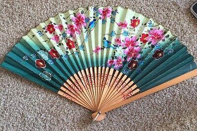 "Antique Vintage Japanese 15"" Blue Green Hand Painted Floral Hand Fan Japan Birds"