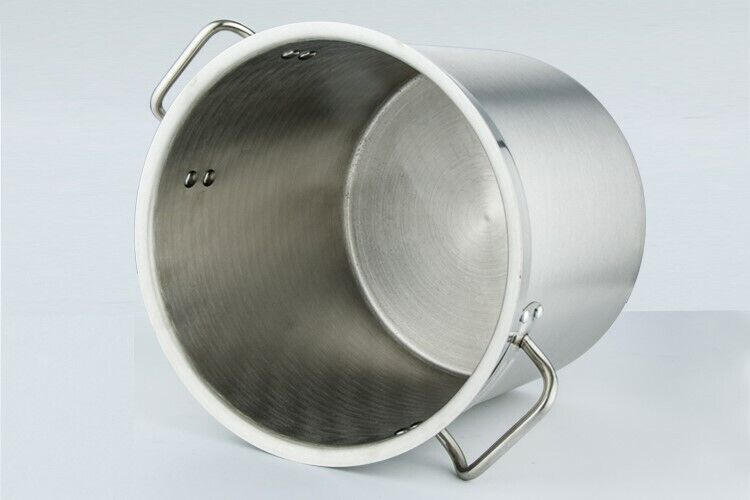 USED 1X GERMAN STAINLESS STEEL EXTRA THICK BASE 25L POT WITH INTERNAL MARKINGS INCLUDES COVER