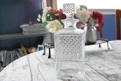 Vintage Old Mr. Boston Crystal Whiskey Square Decanter Diamond Pattern