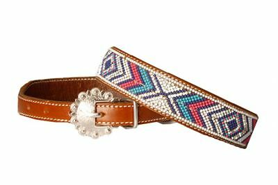 Showman Turquoise Navy Pink Rhinestone Navajo Beaded Buckle Leather Dog Collar Pink Rhinestone Buckle
